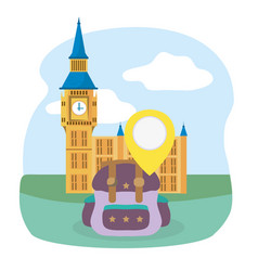 Big ben london landmark rucksack tourist vacation vector