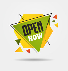 big opening sticker open now again after vector image