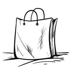 Black and white sketch paper bag or color vector
