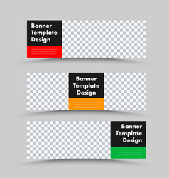 black horizontal web banner templates with photo vector image