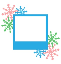 Blue photo frame with snowflakes isolated on white vector image