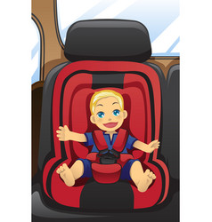 Boy in car seat vector