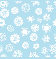 bright blue seamless background with snowflakes vector image