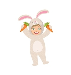 By Holding Carrots In Rabbit Animal Costume vector image