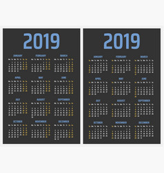 calendar for 2019 starts sunday and monday vector image