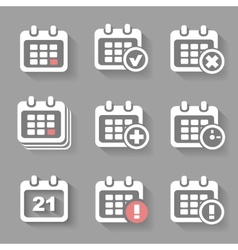 Calendar Icons- event add delete progress White vector image