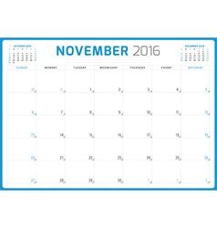Calendar Planner 2016 Design Template November vector