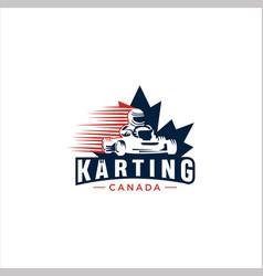 Canadian maple karting logo design vector