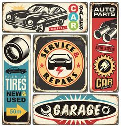 car service and repair retro signs set vector image