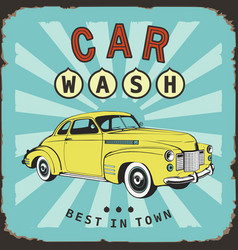 car wash vintage board old metal sing vector image