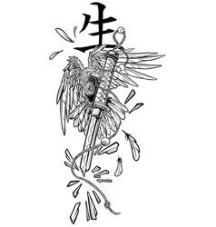 Cartoon graphic raven holding broken katana sword vector