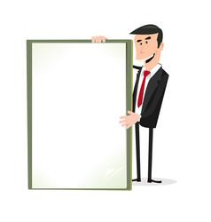 Cartoon white businessman holding a blank sign vector