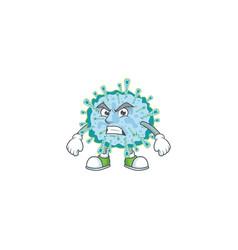 Charming coronavirus illness mascot waving hand vector