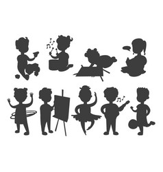Children playing silhouette different types vector
