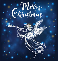 christmas angel blows into the trumpet vector image