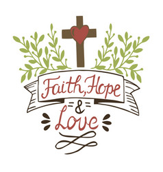 coloring hand lettering faith hope and love with vector image