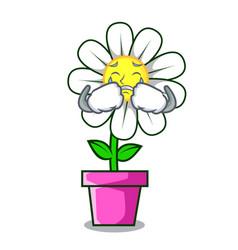 Crying daisy flower mascot cartoon vector
