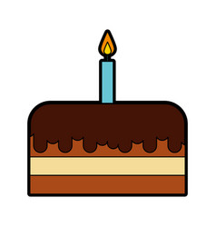 cute birthday cake cartoon vector image
