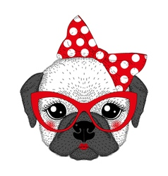 Cute french bulldog girl portrait with pin up bow vector