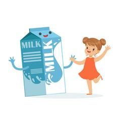 Cute happy little girl and funny milk carton box vector