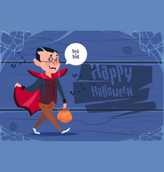 cute kid wear dracula costume happy halloween vector image