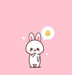 cute rabbit happy easter bunny sticker spring vector image