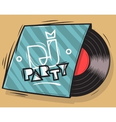 DJ Party Poster Design With Vinyl Record Package vector