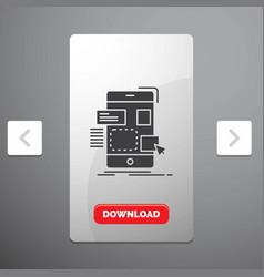 Drag mobile design ui ux glyph icon in carousal vector