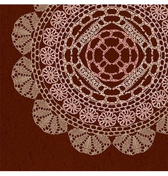 Elegant lacy doily on canvas background vector image
