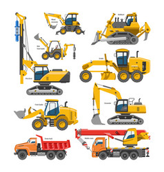 Excavator for construction digger or vector
