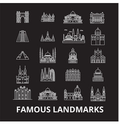 famous landmarks editable line icons set on vector image