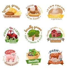 Farm Flat Emblem Set vector image