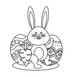 figure rabbit easter with decorated eggs and vector image