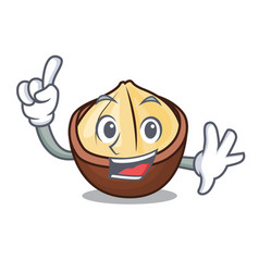 Finger macadamia mascot cartoon style vector