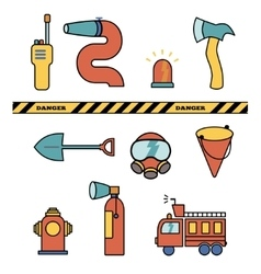 Fire-fighter elements set collection icons vector