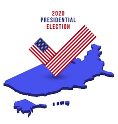 flag check mark vote 2020 in usa on isometric map vector image