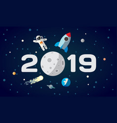 flat space theme for calendar vector image