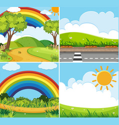 Four scenes with rainbow and sun in sky vector