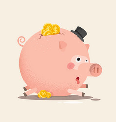 Full piggy bank with coins vector