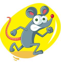 Funny cartoon rat running scared vector