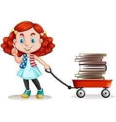 Girl pulling cart full of books vector
