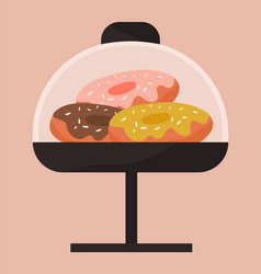 glazed donuts on a stand under a glass lid cafe vector image
