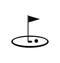 Golf flag black simple icon vector