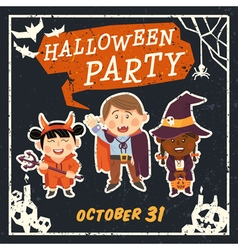 Grunge Halloween background with kids vector