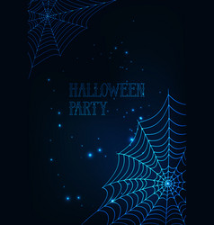 halloween banner template with glowing spider webs vector image