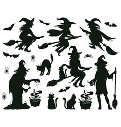 halloween witch silhouettes magic witch ladies vector image