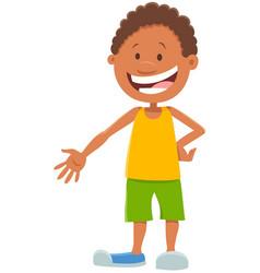 Happy african boy cartoon character vector