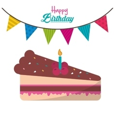Happy birthday piece cake candle garland ed vector