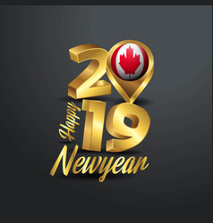Happy new year 2019 golden typography with canada vector