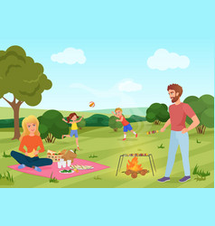 Happy youg family on a picnic in forest field vector